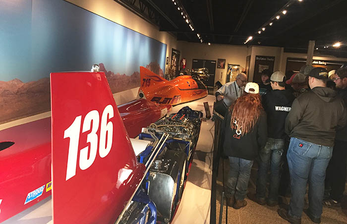 Students browsing the Museum of Speed